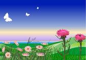 Grüne hügel und rosa blüten illustration — Stockvektor