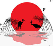 Cranes in rush at sunset with reflection — Stock Vector