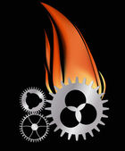 Three gears in flame — Stock Vector