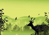 绿色森林附近的单一鹿 — 图库矢量图片