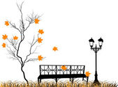 Isilated orange fall maple and bench — Stock Vector