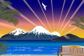 Blå havet och höjd berg illustration — Stockvektor
