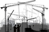 Two wokers between crane silhouettes — Stock Vector