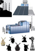 Set of energy generators illustration — Stock Vector