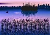 小船在森林湖图 — 图库矢量图片