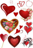 Set of different hearts decorations — Cтоковый вектор