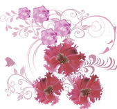Three big pink flowers and small butterfly — Stock Vector