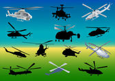 Set of thirteen helicopters — Stock Vector