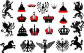 Large set of red and black heraldic symbols — Stock Vector