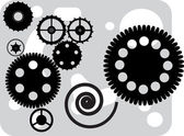Black gear silhouettes on grey — Stock Vector