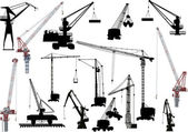 пятнадцать строительные краны на белом — Cтоковый вектор