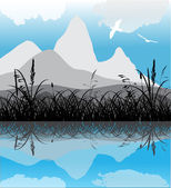Mountains and grass reflection — Stock Vector