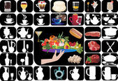 Dishware and food on black background — 图库矢量图片