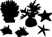 Set of sea invertebrate silhouettes isolated on white — Stock Vector