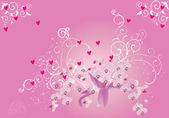 Decoration with pink orchids and hearts — Stock Vector