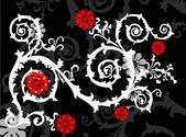 Curl blanche avec des fleurs rouges vif — Vecteur