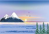 Montagne hivernale au coucher du soleil — Vecteur