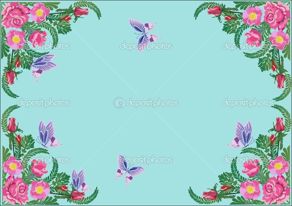 Illustration with rose flower frame and butterflies  Stock Vector #12357527
