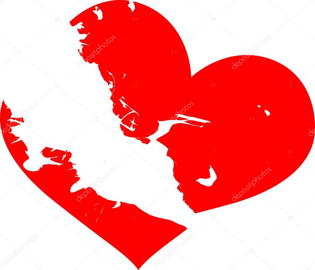 Red Heart White Background Red Broken Heart on White
