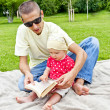 Baby Reading A Book — Stock Photo