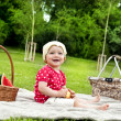 Stock Photo: Baby On Picnic With Fruits