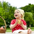 Baby On Picnic With Fruits — Stock Photo