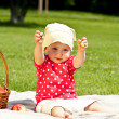 Baby On Picnic With Fruits — Foto Stock