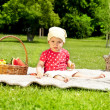 Baby On Picnic With Fruits — Stock Photo #11835229