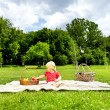 Baby On Picnic With Fruits - Foto de Stock