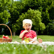 Baby On Picnic With Fruits — 图库照片