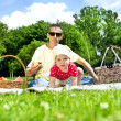 Stock Photo: Baby With Father On Picnic