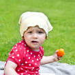 Baby On Grass Play - Stock Photo