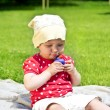 Baby On Grass Play - Foto Stock
