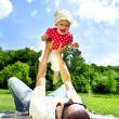 Father Play With Baby Girl - Stock Photo
