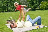 Father Play With Baby Girl — Foto Stock