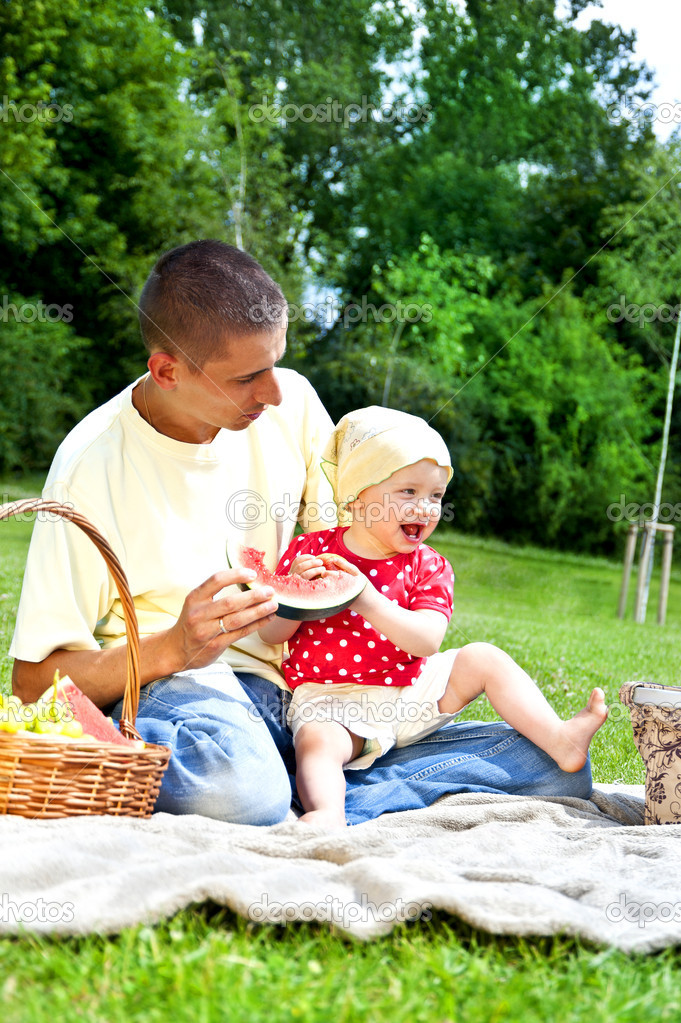 Baby with father on Picnic  Stock Photo #11835256