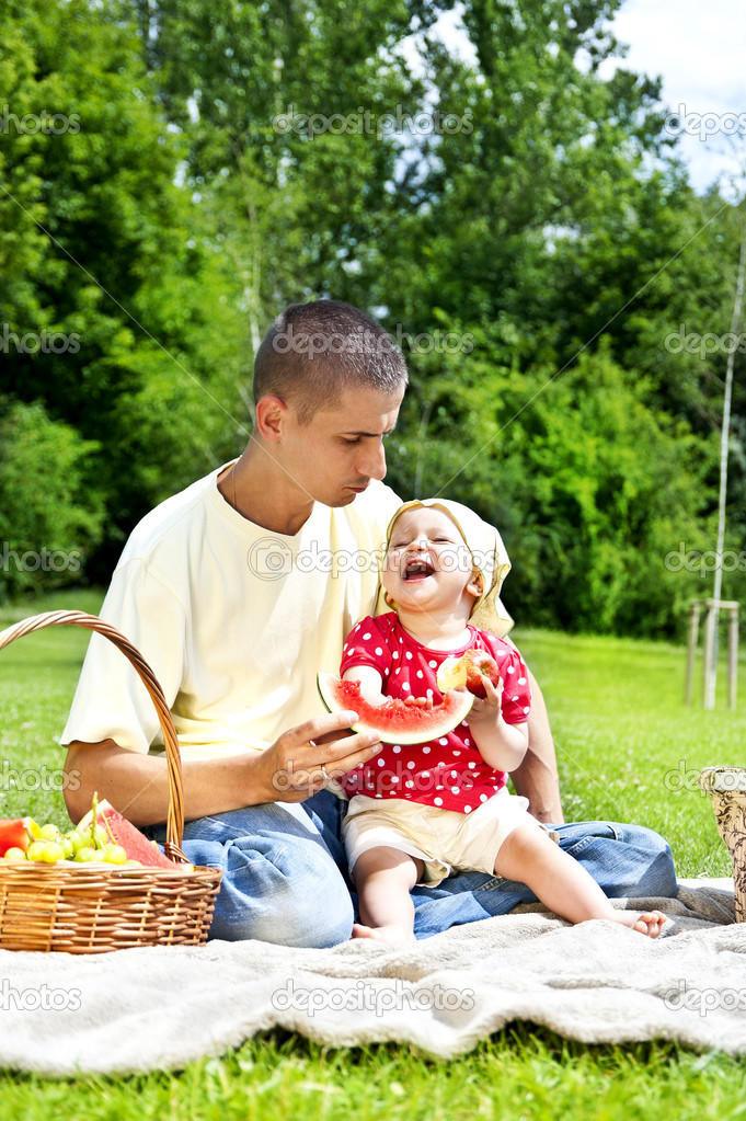 Baby with father on Picnic  Stock Photo #11835257