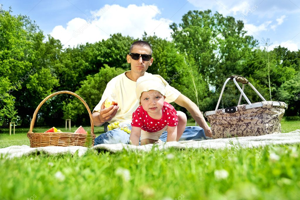 Baby with father on Picnic  Stock Photo #11835283