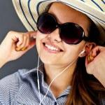 Teenager Girl Listing Music — Stock Photo