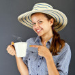 Woman With Coffee Cup — Stockfoto