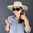 Teenager Girl Listing Music — Stockfoto
