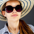 Teenager Girl Listing Music - Foto Stock