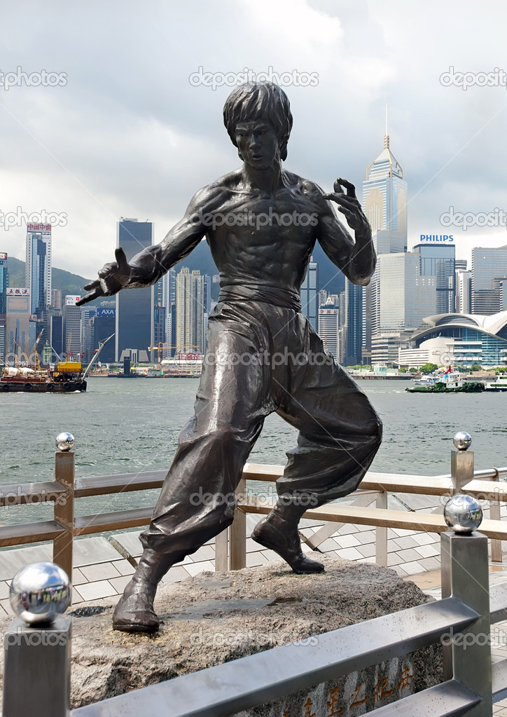 HONG KONG - JULY 14: Bruce Lee monument  at Avenue of Stars in Hong Kong, July 14, 2012.  Stock Photo #12044598