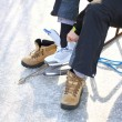 To dress skate ice skating outdoors winter — Stock Photo