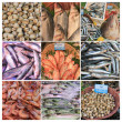 French fish market collage - Foto Stock