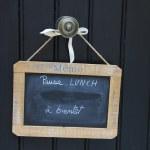 Small blackboard on a door lunch break message — Stock Photo #11082914