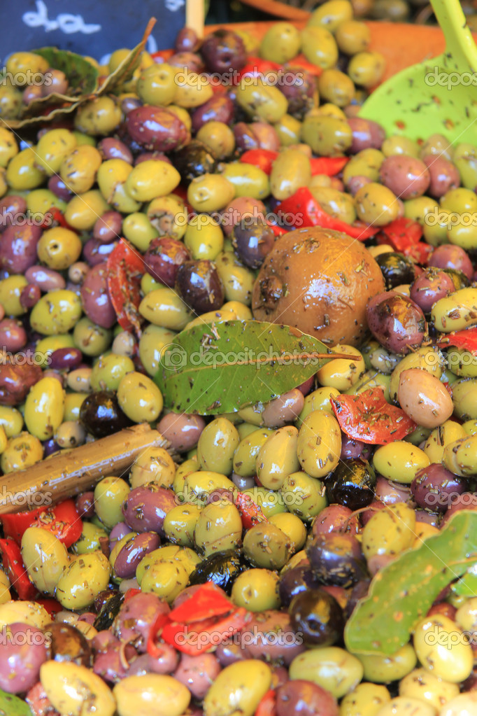 Assorted olives on a Provencal market in France  Stock Photo #11080084