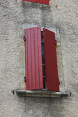 French windows with shutters — Stock Photo