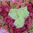Stock Photo: Pink bridal, flower arrangement, roses and gerberas