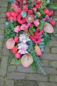 Bouquet di rosa simpatia sul marciapiede — Foto Stock